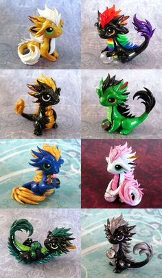 making baby orientals. cute baby dragons in so many colors | made from polymer clay | white and pink is my favorite | dragon figures - adorable and tiny