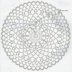 Crochet Doily Diagram, Crochet Flower Patterns, Crochet Mandala, Filet Crochet, Crochet Motif, Crochet Doilies, Crochet Flowers, Crochet Lace, Crochet Square Blanket