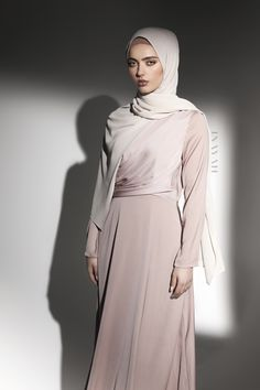 INAYAH | Exhibit soft, neutral tones in this exquisite front draped dress. Dusky Pink Drape Front #Dress + Oatmeal Soft Crepe #Hijab - www.inayah.co