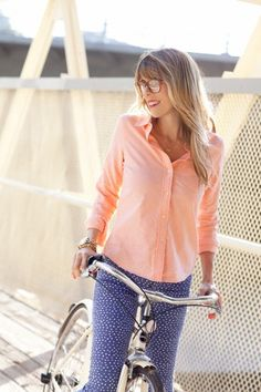 cute contrast with polka dot pants