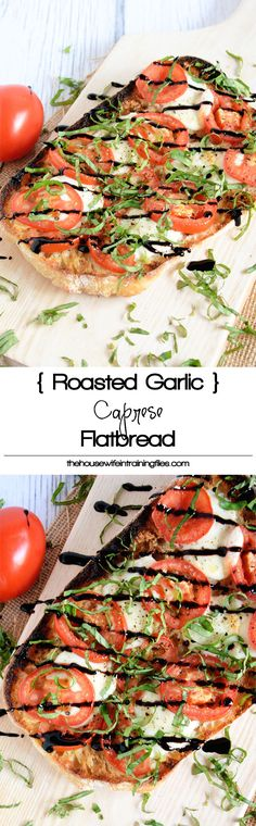 This Roasted Garlic Caprese Flatbread spices up with a loaf of ciabatta with a roasted garlic spread, roma tomatoes, fresh mozzarella and a balsamic drizzle! A simple and quick dinner! flatbread with eggplant Vegetarian Recipes, Cooking Recipes, Healthy Recipes, Healthy Dishes, Appetizer Recipes, Dinner Recipes, Appetizers, Flatbread Recipes, Grilled Flatbread Pizza