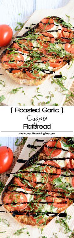 ... roasted garlic spread, roma tomatoes, fresh mozzarella and a balsamic