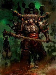- Chaos Lord of Nurgle (by Unknown) Warhammer Fantasy, Warhammer 40k Rpg, Chaos Lord, Chaos 40k, Aliens, Martial, Geek Art, Space Marine, Dark Fantasy
