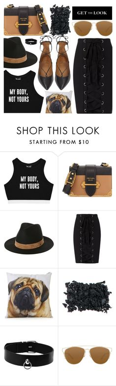 """""""Go Black Lace Up Clothing"""" by jiabao-krohn ❤ liked on Polyvore featuring Minga, Prada, Volcom, Exclusive for Intermix, Topshop, Christian Dior, Aquazzura and rio"""