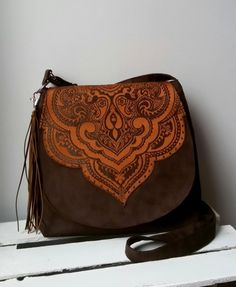 Brown messenger bag Oriental messenger bag Boho bag Vegan | Boho ...