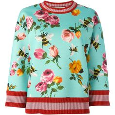 Gucci bees and flowers jumper ❤ liked on Polyvore featuring tops, sweaters, flower top, flower sweater, gucci top, gucci jumper and bumble bee sweater