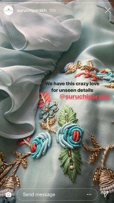 Zardosi Embroidery, Embroidery On Kurtis, Kurti Embroidery Design, Hand Embroidery Dress, Embroidery On Clothes, Embroidery Fashion, Hand Embroidery Designs, Floral Embroidery, Beaded Embroidery