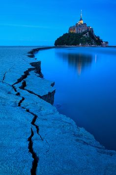 blue hour . mont st michel . france