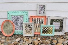 Set of 7 Coral Mint White Frames  Gold by TheSpeckledEgg2011