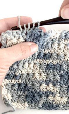 Crochet Star Patterns, Easy Crochet Stitches, Crochet Stitches For Beginners, Crochet Stars, Crochet Motifs, Crochet Basics, Dishcloth Crochet, Knitting For Beginners, Crochet Dishcloths Free Patterns