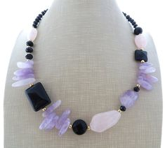 Amethyst necklace and earrings chunky necklace black onyx