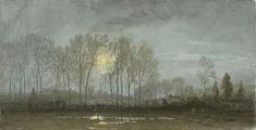 Wm. Trost Richards Moonlit Landscape, 1862, gouache, 6 7/8 x 13 3/8 in. | Gurney Journey: Some of My Favorite Gouache Masters
