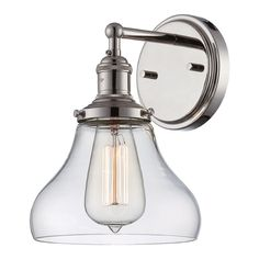 Buy the Nuvo Lighting Polished Nickel Direct. Shop for the Nuvo Lighting Polished Nickel Vintage Single Light Tall Wall Sconce with Clear Glass Shade and save. Bathroom Sconces, Bathroom Wall Lights, Bathroom Vanity Lighting, Wall Sconce Lighting, Bathroom Ideas, Light Bathroom, Master Bathroom, Task Lighting, Bath Ideas