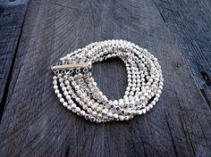 Multi Strand Silver Bracelet Statement Bracelet by InBloomGallery,