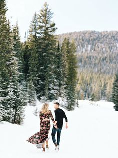 Oh darling, let's be adventurers.  Mountain engagement session | Engagement session outfit ideas | Long flowery dress | Montana wedding photographers | Orange Photographe #orangephotographie