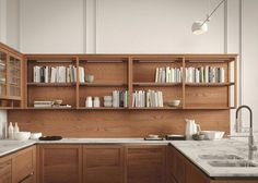 A modern kitchen design that delivers timeless appeal by evoking traditional Italian culture and using artfully molded surfaces. The end result is a luxury kitchen with sober elegance and balanced allure. Luxury Kitchen Design, Best Kitchen Designs, Luxury Kitchens, Bathroom Interior Design, Kitchen Interior, Home Kitchens, Kitchen Ikea, Living Room Kitchen, Home Decor Kitchen