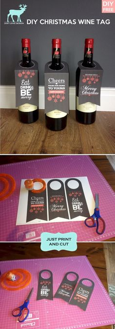 FREE DIY WINE BOTTLE TAGS Print and Cut its that easy. Esp useful if you dont have a gift bag! - Download Wine Bottle Tags xxx Penny