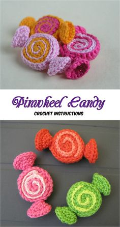 Crochet Pinwheel Candy Today we have for you beautiful and cute design for pinwheel candy. With these candies you can decorate your kitchen and dining room tables and clothing and accessories too. Crochet Food, Crochet Motif, Crochet For Kids, Crochet Crafts, Crochet Yarn, Yarn Crafts, Crochet Stitches, Crochet Projects, Free Crochet
