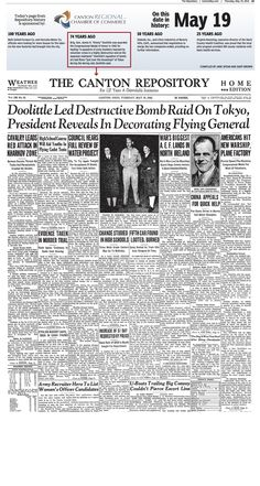 Ceremonies honoring Jimmy Doolittle for his daring raid on Tokyo made front-page news in The Repository on May 19, 1942.