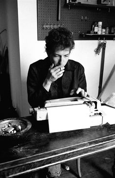 Bob Dylan in writing room above cafe, Woodstock, NY - 1964