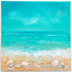 Beach painting with shells and texture, dimension, beach decor with shells and starfish, ocean painting, aqua turquoise teal seascape Ocean Painting, Beach Painting, Seashell Art, Painting, Art, Canvas Art, Painting Projects, Beach Art, Ocean Art
