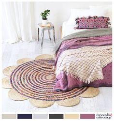 contemporary rag rug in violet bedroom, bloom rug, recycled sari and natural jute, white room with purple accents, interior color palettes