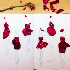 Fashion Illustrations Sketched with Real Flower Petals