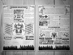 Menu design for the Try Burger ( Nice ). Vintage, drawings, branding, vector, lettering. By theoretical part.