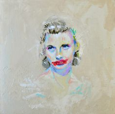"""Joshua Petker, Ginger Rogers Without Makeup, Acrylic and ink on canvas, 24 x 24"""", 2011"""
