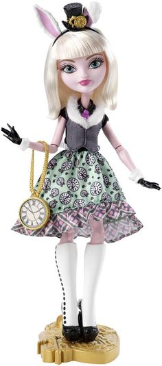 Bunny Blanc Ever After High Doll, 2015 ($20 at Shop.Mattel .com) - This is the debut Bunny doll. She is the daughter of the White Rabbit of Wonderland, and a Royal. She is looking forward to her destiny, but she's in no hurry to get there. She wears a Wonderland-inspired outfit. Her dress features a fur collar, green skirt with clock print and plaid ruffle. She also wears a pink tie, black gloves with white cuffs, carrot earrings, tall boots, clock-face purse, headband with top hat & bunny…