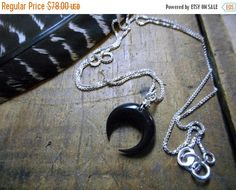 """SALE Lunar Ritual. Crescent Moon Carved Buffalo Horn Bone & 18"""" Sterling Silver Necklace. Box chain."""