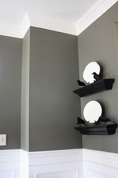 love the wall color for a future dining room w/ black table w/ color accents