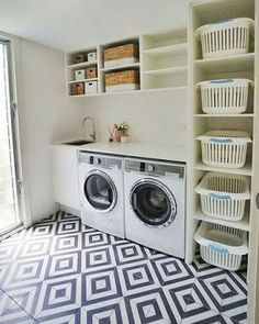 Laundry room storage ideas include installation of stock cabinetry, racks, shelves, etc. in a smart way to make the room look elegant and organized. room ideas organization 15 Perfect Small Laundry Room Storage Ideas To Consider 2 Laundry Room Layouts, Modern Laundry Rooms, Laundry Room Cabinets, Farmhouse Laundry Room, Basement Laundry, Laundry Room Organization, Laundry Room Design, Laundry Storage, Organization Ideas