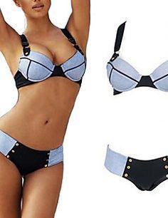 De las mujeres Bikini - Color Único Push-Up / Sujetador Acolchado - Bandeau - Nailon / Espándex