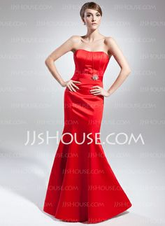 Evening Dresses - $122.69 - Mermaid Sweetheart Floor-Length Satin Evening Dress With Crystal Brooch (017015002) http://jjshouse.com/Mermaid-Sweetheart-Floor-Length-Satin-Evening-Dress-With-Crystal-Brooch-017015002-g15002