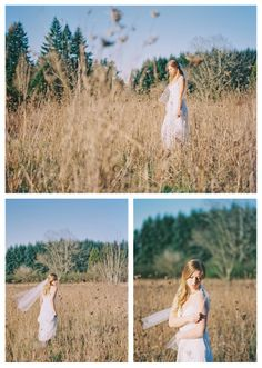 Beautiful bridal portrait in a field. The colors that film produces makes me swoon. Photos by Kel Ward Photography (www.kelwardphotography.com).