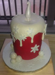 Red Christmas candle cake