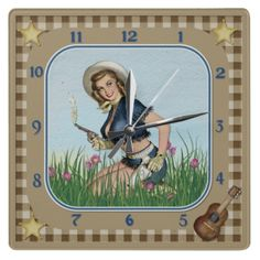 Smoking Pistol Pin Up Cowgirl Clock