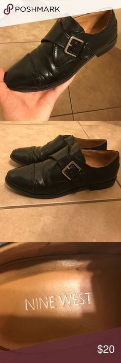 Black Vintage Inspired Nine West Shoes Size 8 Black Vintage inspired Nine West Shoes with a buckle to give you that edgy look! Lightly worn and in very good condition. There is a small scuff pictured above. Nine West Shoes Flats & Loafers