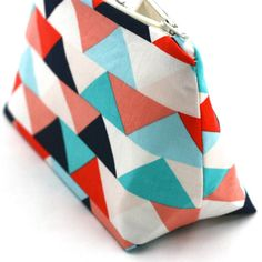Cosmetic Bag / Makeup Bag in Graphic Retro Triangle Geometric Print: Modern Zipper Pouch, Bridesmaid Gift, Party Favor, Pencil Pouch on Etsy, £7.37
