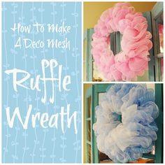 Miss Kopy Kat: How To Make A Deco Mesh Ruffle Wreath - I like her easy to understand directions and attention to details! Deco Mesh Garland, Deco Mesh Wreaths, Ribbon Wreaths, Floral Wreaths, Wreath Crafts, Diy Wreath, Wreath Making, Wreath Ideas, Tulle Wreath