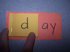 Simple word-family flip book  (stapled sticky notes on construction paper)