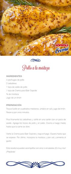 Pollo a la Mostaza Chicken Recepies, Chicken Salad Recipes, Latin Food, Chicken Wings, Mexican Food Recipes, Food And Drink, Yummy Food, Dinner, Cooking