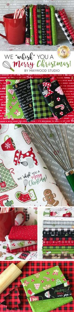 We Whisk You A Merry Christmas is a sweet Christmas collection by Kim Christopherson of Kimberbell Designs for Maywood Studio. Shop the available yardage, precuts, and kits at www.shabbyfabrics.com for all of your holiday quilting projects!