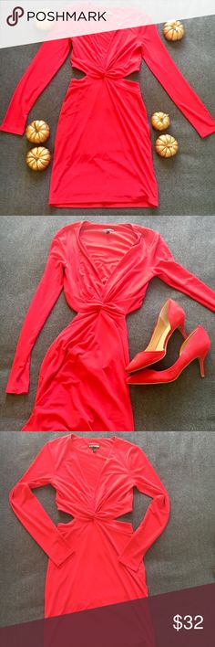 Express Sexy Red Dress Open to offers! Long sleeves, cutouts at sides and across the back—very sexy! Fitted sleeves, dress is more like a size small than an XS. Can still wear a regular bra with this dress! Worn 1x for NYE night out. Express Dresses Mini