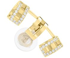 Swarovski's Cubist Ear Cuff shines in gold-plated metal enhanced with clear…