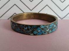 Vintage Turquoise And Brass Blue Mosaic Bracelet - Made in India! So beautiful! #vintagejewelry #midcentury #fashion