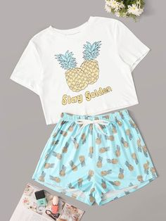 Shop Pineapple & Letter Print Pajama Set at ROMWE, discover more fashion styles online. Cute Pajama Sets, Cute Pjs, Cute Pajamas, Pajamas For Girls, Girls Fashion Clothes, Teen Fashion Outfits, Outfits For Teens, Fashion Dresses, Cute Lazy Outfits