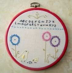This is simple and sweet and would be great for a beginner project when teaching embroidery.