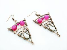 Тriangular earrings unique earrings wire by MargoHandmadeJewelry